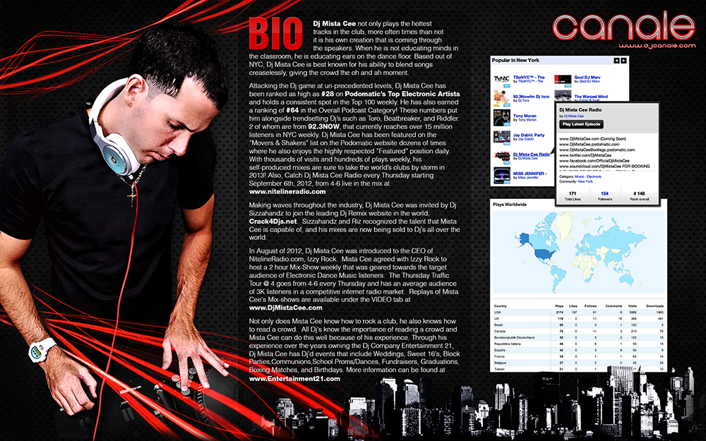 dj biography template - press kit dj canale official website